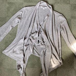DKNY grey handkerchief bottom cardigan